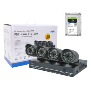 Video Surveillance Kit PNI House PTZ1200 Full HD con HDD da 1Tb incluso - DVR e 4 telecamere esterne