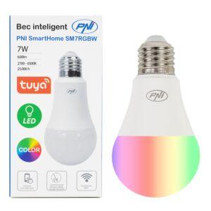 PNI SmartHome SM7RGB Lampadina LED 7w con luce RGB regolabile, WiFi programmabile