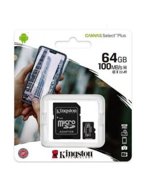 Scheda di memoria MicroSD Canvas Select Plus, 64 GB, 100 MB / s, con adattatore