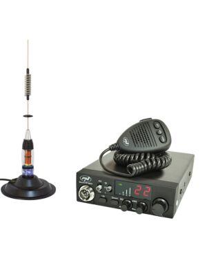 Stazione radio CB PNI ESCORT HP 8024 ASQ, 12-24 V, 40 canali, 4W + antenna CB PNI ML70 con magnete