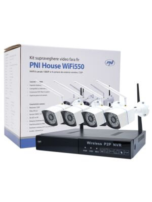 Kit di videosorveglianza PNI House WiFi550 NVR e 4 telecamere wireless, 1.0MP